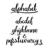 Alfabeto de las letras de la mano del vector Fuente pintada cepillo Imagen de archivo