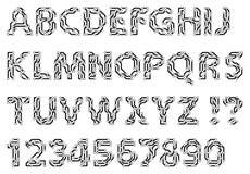 Alfabeto de las letras y de los dígitos de un estilo del circuito Mecanografiado de Techno stock de ilustración