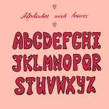 Alfabeto de las tarjetas del día de San Valentín con los corazones stock de ilustración