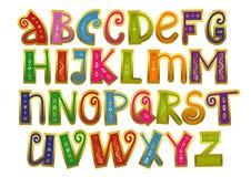 Alfabeto de latino colorido decorativo com os redemoinhos e o esboço dourado isolados no fundo branco ilustração royalty free