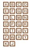 Alfabeto de los bloques de madera stock de ilustración