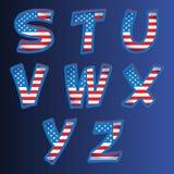 Alfabeto de los E.E.U.U. en un fondo azul Fotografía de archivo libre de regalías