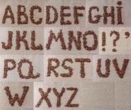 Alfabeto de los granos de café Imagen de archivo libre de regalías