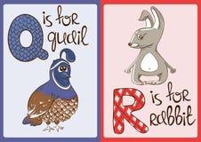 Alfabeto de los niños con los animales divertidos codornices y conejo Fotos de archivo libres de regalías