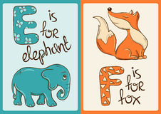 Alfabeto de los niños con los animales divertidos elefante y Fox Imagen de archivo libre de regalías