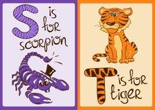 Alfabeto de los niños con los animales divertidos escorpión y tigre Fotos de archivo