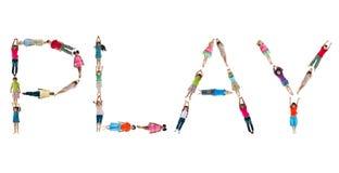 Alfabeto de los niños del mundo con un juego de palabra Fotografía de archivo libre de regalías