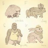 Alfabeto de lujo de los animales del bosquejo en estilo del vintage Fotos de archivo libres de regalías
