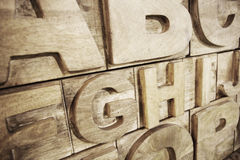 Alfabeto de madera Imagen de archivo libre de regalías