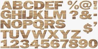 Alfabeto de madera aislado en blanco stock de ilustración