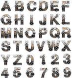 Alfabeto de madera con los engranajes Imágenes de archivo libres de regalías