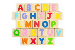 Alfabeto de madera de ABC, letras inglesas Foto de archivo
