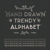 Alfabeto de moda del dibujo de la mano Imágenes de archivo libres de regalías