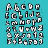 Alfabeto de moda dibujado mano stock de ilustración