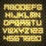 Alfabeto de néon amarelo de incandescência Fotografia de Stock
