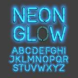 Alfabeto de néon do fulgor ilustração stock