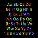 Alfabeto de néon do fulgor Vetor projeto, partido, retro, 3d, arte, fonte, Fotografia de Stock Royalty Free