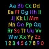 Alfabeto de néon do fulgor Vetor projeto, partido, retro, 3d, arte, fonte, Foto de Stock