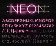 Alfabeto de néon realístico em um fundo da parede de tijolo preta Fonte de incandescência brilhante Formato do vetor Imagem de Stock Royalty Free