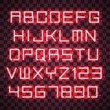 Alfabeto de néon vermelho de incandescência Fotos de Stock