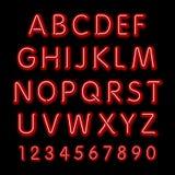 Alfabeto de neón del resplandor Fuente de neón retra 3d del partido del diseño del vector, Fotografía de archivo libre de regalías