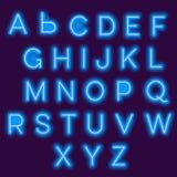 Alfabeto de neón stock de ilustración