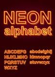 Alfabeto de neón que brilla intensamente para el cartel o el folleto ilustración del vector