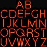 Alfabeto de neón rojo Foto de archivo