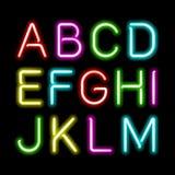Alfabeto de neón del resplandor Foto de archivo libre de regalías