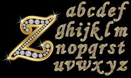 Alfabeto de oro con los diamantes, letras de A a Z ilustración del vector