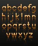 Alfabeto de oro decorativo Imagen de archivo libre de regalías