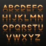 Alfabeto de oro decorativo Fotos de archivo