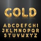 Alfabeto de oro Sistema de las letras metálicas 3d Imagen de archivo