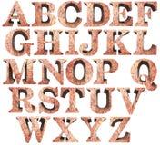 Alfabeto de piedra del mineral de hierro en el fondo blanco stock de ilustración