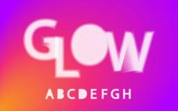 Alfabeto de semitono a, b, c, d, e, f, g, h de la fuente del resplandor, libre illustration