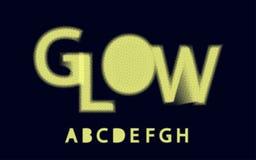 Alfabeto de semitono a, b, c, d, e, f, g, h de la fuente del resplandor stock de ilustración