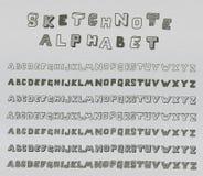 Alfabeto de Sketchnote Fotos de archivo