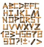 Alfabeto de tarjetas de madera y de la corteza libre illustration