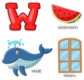 Alfabeto de W dos desenhos animados ilustração stock