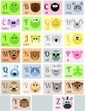 Alfabeto de A a Z con los animales divertidos en estilo de la historieta Ilustración del Vector