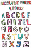Alfabeto decorativo del marcador Imagenes de archivo