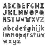 Alfabeto decorativo nello stile scandinavo, fonte del hygge illustrazione di stock