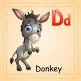 Alfabeto degli animali: La D è per l'asino Immagini Stock Libere da Diritti