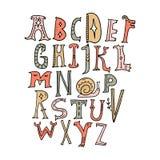 Alfabeto dei bambini Animali magici leggiadramente di vettore Segnando, lettere iniziali, stile medievale d'annata illustrazione di stock