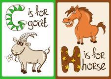 Alfabeto dei bambini con gli animali divertenti capra e cavallo Fotografie Stock