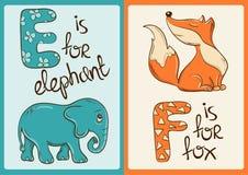 Alfabeto dei bambini con gli animali divertenti elefante e Fox Immagine Stock Libera da Diritti