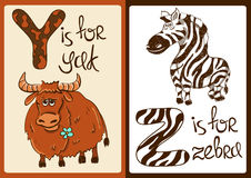 Alfabeto dei bambini con gli animali divertenti yak e zebra Fotografia Stock