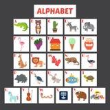 Alfabeto dei bambini con gli animali svegli del fumetto e l'altro elem divertente Fotografie Stock