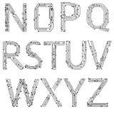 Alfabeto dei circuiti stampato illustrazione vettoriale