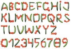 Alfabeto dei pomodori e dei cetrioli Fotografia Stock Libera da Diritti
